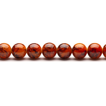Flame Orange Marble Grain Patterned Glass Beads 12mm Round 2x16Inch 76-Bead