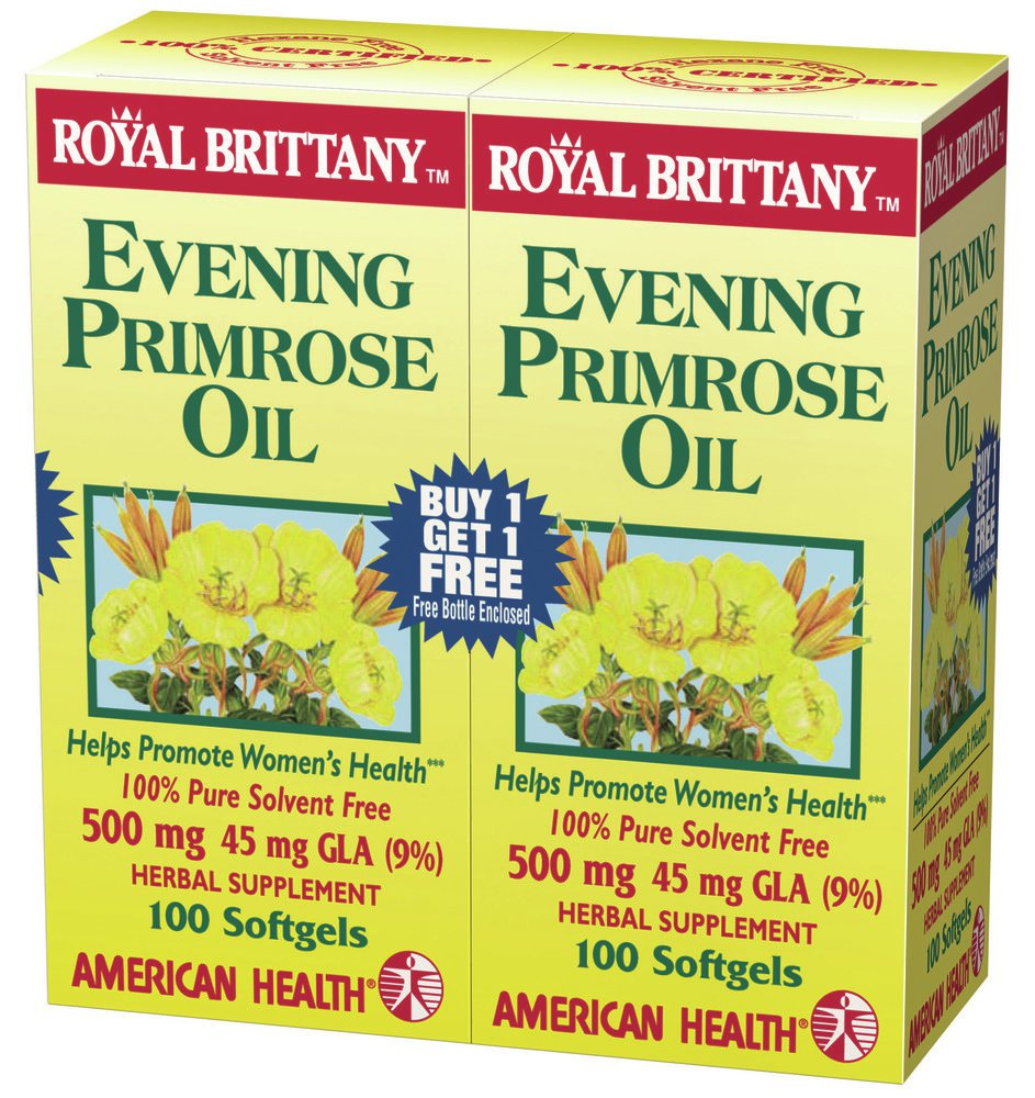 Evening Primrose Oil 500mg, Royal Brittany Twin Pack American Health Products 100 100 Softgel