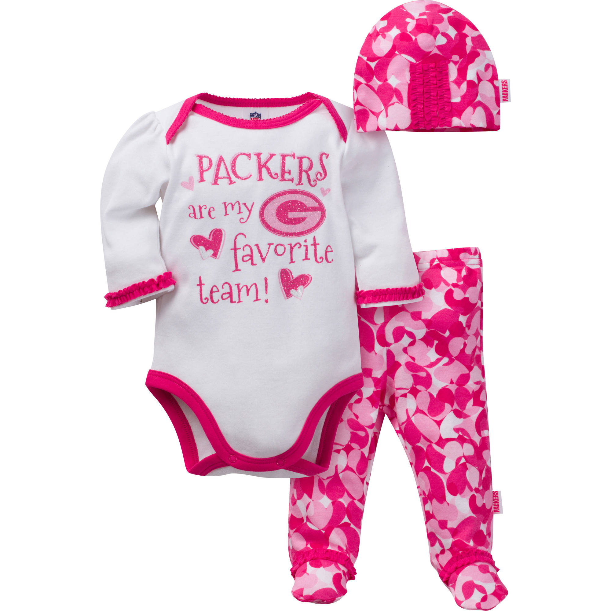 NFL Green Bay Packers Baby Girls Bodysuit, Pant and Cap Outfit Set, 3-Piece