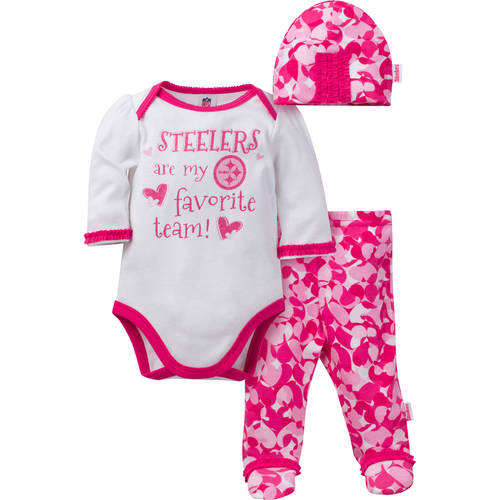 NFL Pittsburgh Steelers Baby Girls Bodysuit, Pant and Cap Outfit Set, 3-Piece
