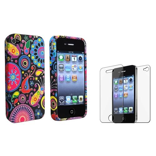 INSTEN Colorful Fish&Circles TPU Case+Front Back LCD Film Protector For iPhone 4 4S