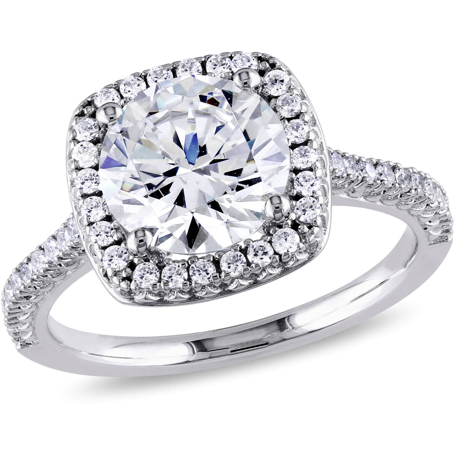Miabella 5 Carat T.G.W. Cubic Zirconia Sterling Silver Halo Engagement Ring