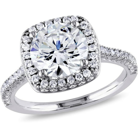 miabella 5 carat tgw cubic zirconia sterling silver halo engagement ring - Silver Wedding Rings