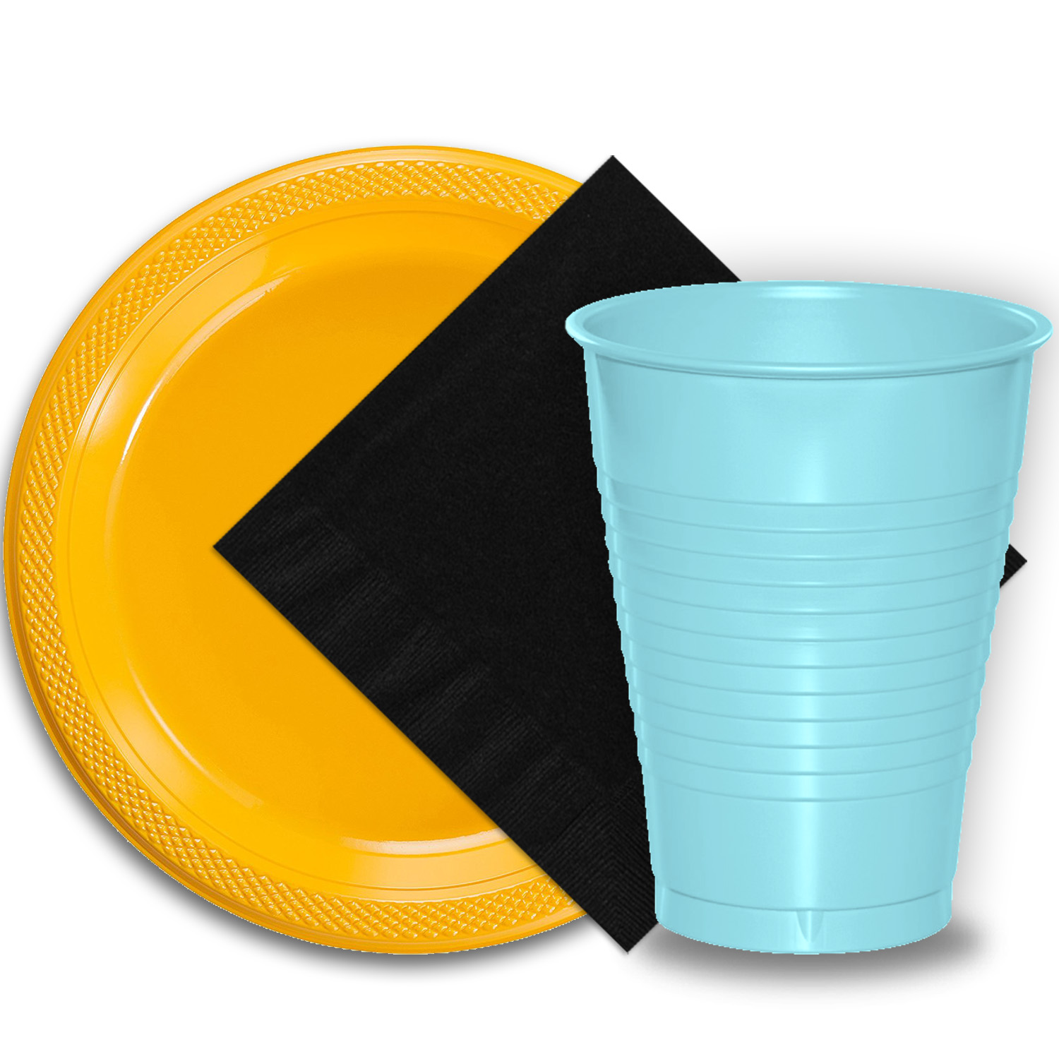 "50 Yellow Plastic Plates (9""), 50 Light Blue Plastic Cups (12 oz.), and 50 Black Paper Napkins, Dazzelling Colored Disposable Party Supplies Tableware Set for Fifty Guests."