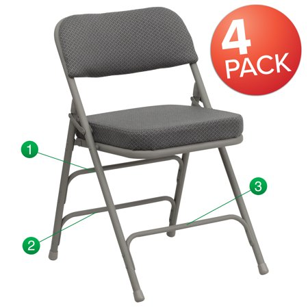 Flash Furniture HERCULES Series Metal Folding Chairs with Padded Seats | Set of 4 Gray Metal Folding Chairs Metal Set Folding Chair
