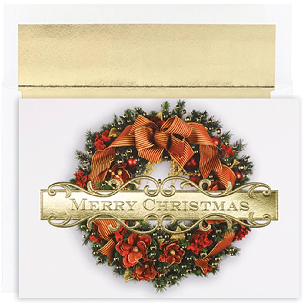 JAM Paper®, Christmas Wreath Card Pack, 18 Holiday Cards & Envelopes per pack