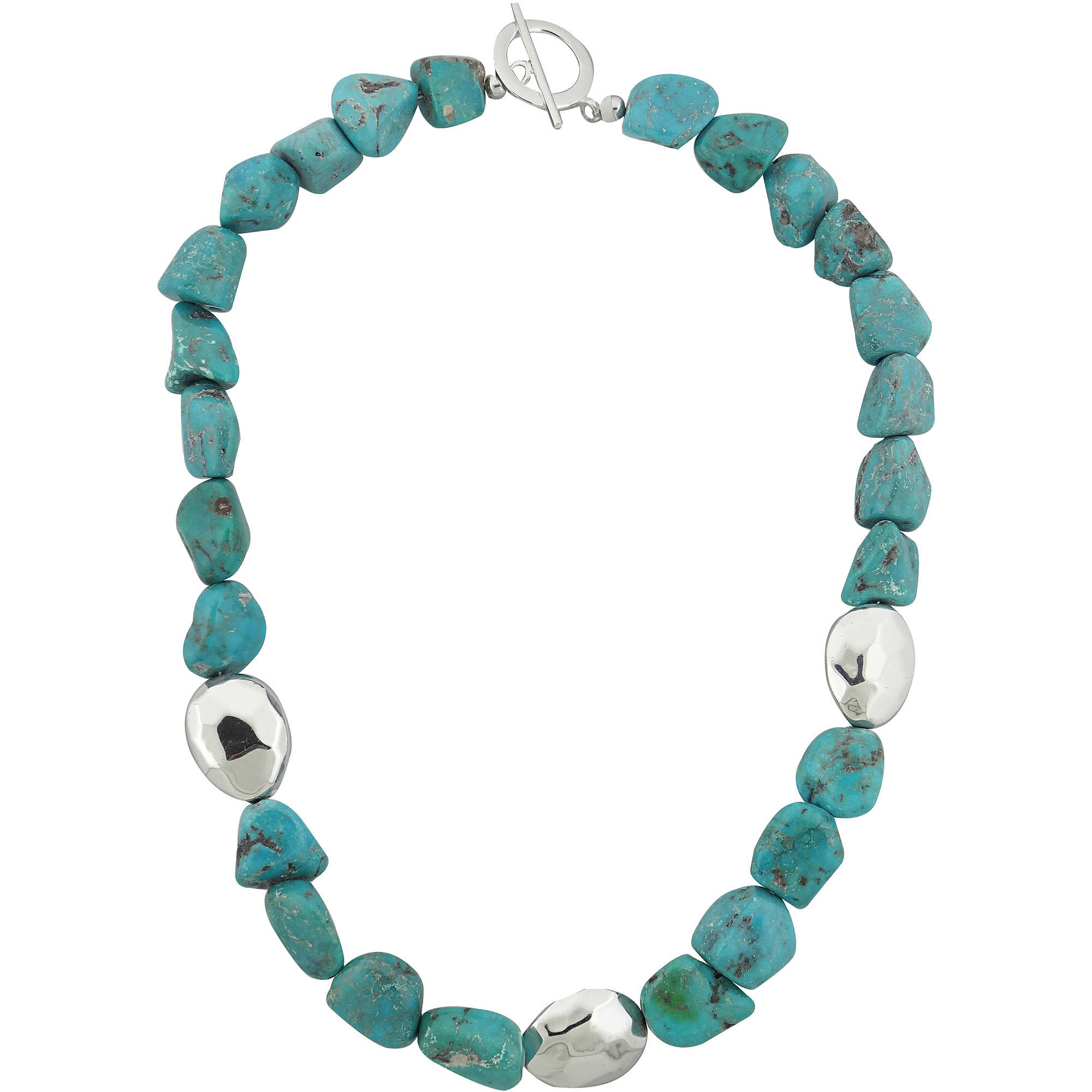 "Beaded Turquoise Sterling Silver Necklace, 16"" with Extender"