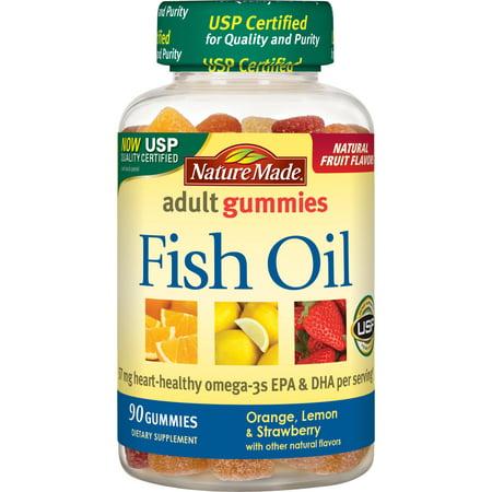 Nature Made Fish Oil Omega-3 Adult Gummies, Orange, Lemon, & Strawberry, 90