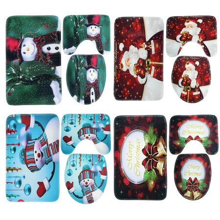 3Pcs Christmas Santa Claus Snowman Bathroom Set Bath Rug Pedestal Rug + Toilet Lid Cover + Non-slip Pad Mat Doormat Floor Carpet Home Office Hotel Decor Gift