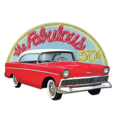 Beistle 55755 1-Pack Fabulous 50's Sign, 18-Inch by 25-Inch - 50's Style Home Decor
