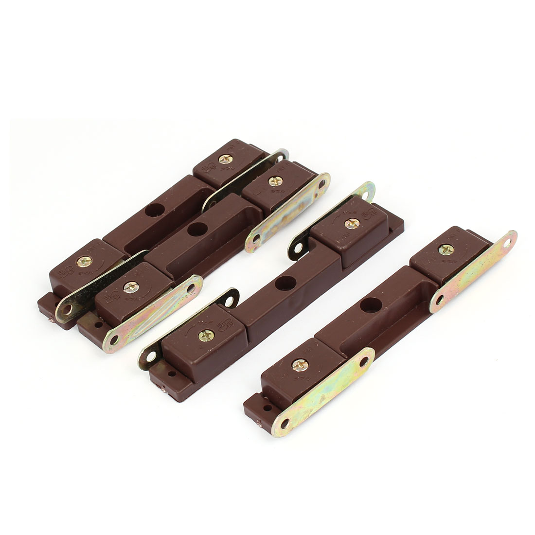 Cabinet Plastic Magnetic Double Catch Door Latch Brown 130mm x 20mm x 15mm