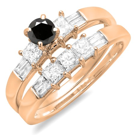 1.00 Carat (ctw) 10K Rose Gold Round Princess & Baguette Cut Black & White Diamond Ladies Bridal Engagement Ring Set 1 C