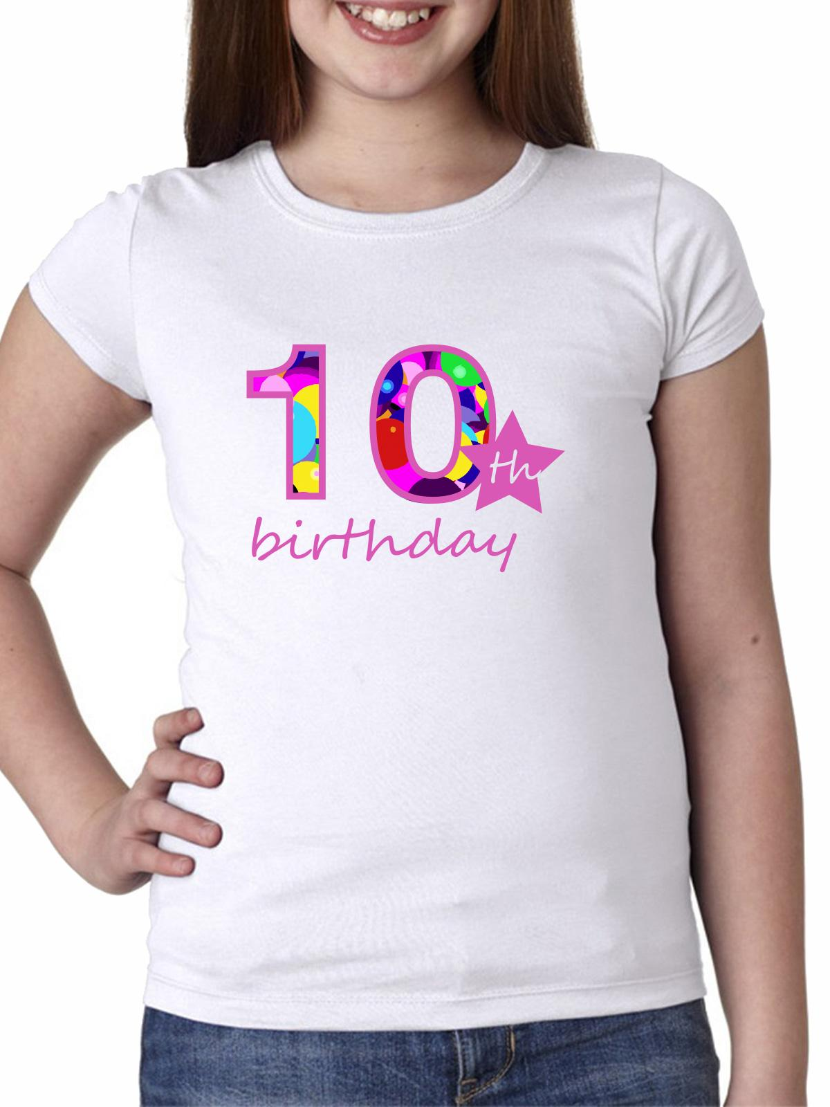 10th Birthday - Large Pink Ten Star - Gift Girl's Cotton Youth T-Shirt