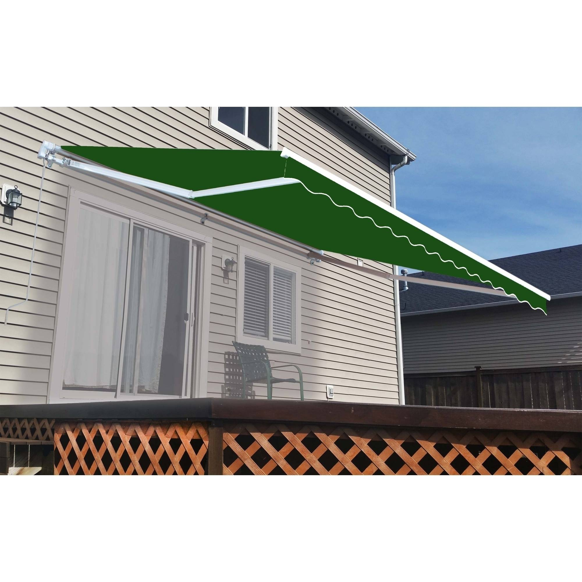 ALEKO Retractable Patio Awning 10 x 8 3m x 2 5m Solid Green