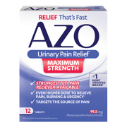 AZO Maximum Strength Urinary Pain Relief, UTI Pain Reliever, 12 ct