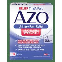AZO Maximum Strength Urinary Pain Relief, UTI Pain Reliever, 12 ct