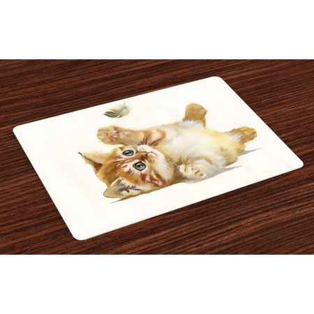 Animal Placemats Set of 4 Cute Cat Playing with Feather in Watercolors Hand Drawn Illustration Art, Washable Fabric Place Mats for Dining Room Kitchen Table Decor,Apricot Cream White, by Ambesonne (Feather Place)