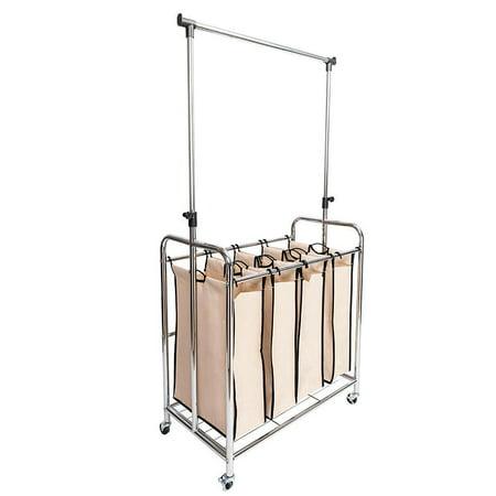 Ktaxon Mobile 4 Bag Laundry Hamper Sorter Cart With Adjustable