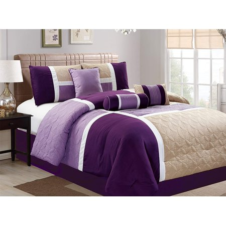 7 Piece Luxury Quilted Patchwork Comforter Set, King, (Eastern King Comforter)