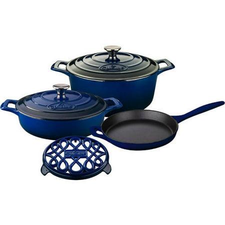 La cuisine 6 piece enameled cast iron cookware set round for Art cuisine stone cookware