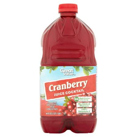 (2 pack) Great Value Juice Cocktail, Cranberry, 64 Fl Oz, 1 - Hippie Juice Cocktail
