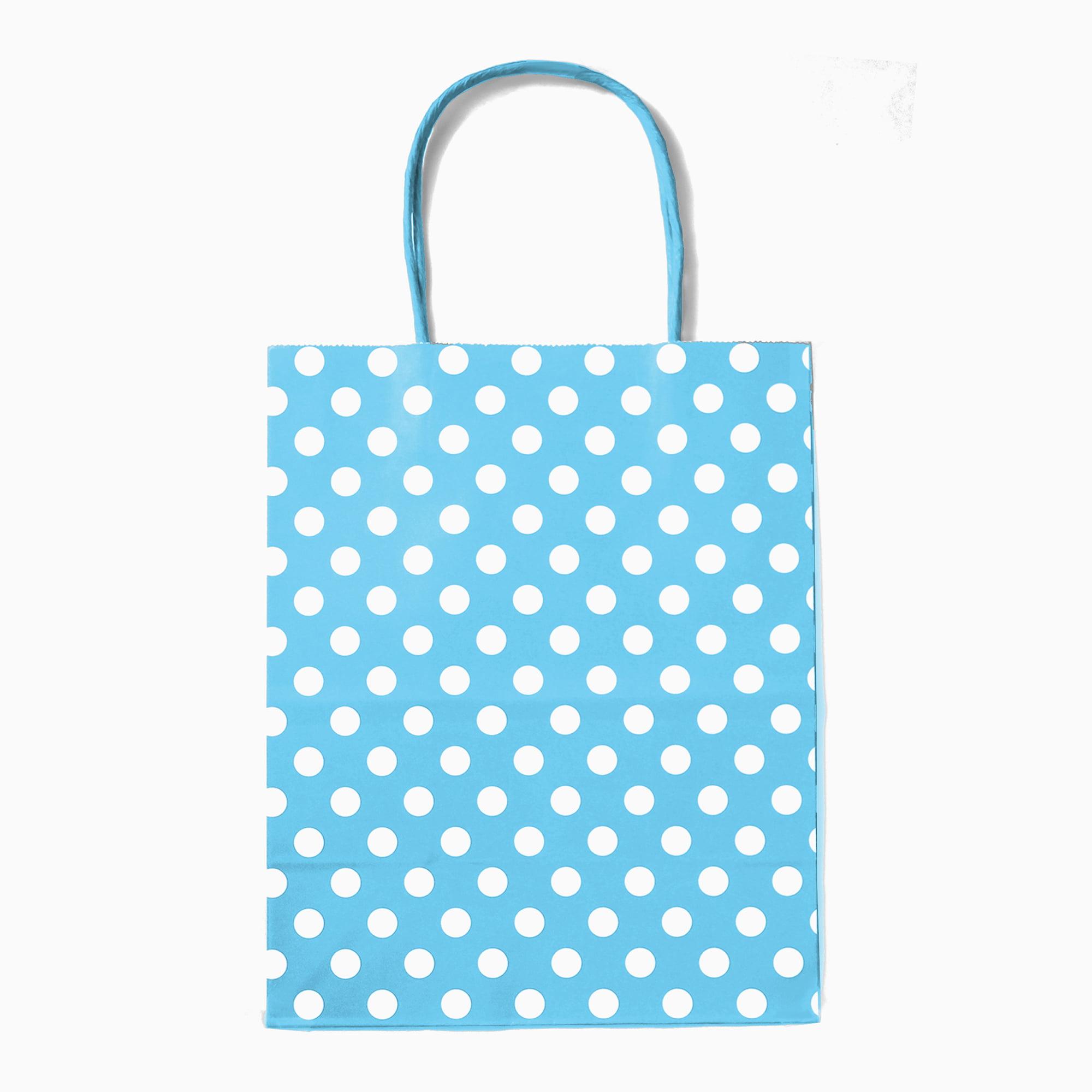 12CT Polka dots Kraft bag with sturdy handle - Medium Black
