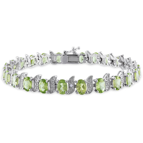 Tangelo 11-3/4 Carat T.G.W. Peridot and Diamond-Accent Sterling Silver Tennis Bracelet, 7