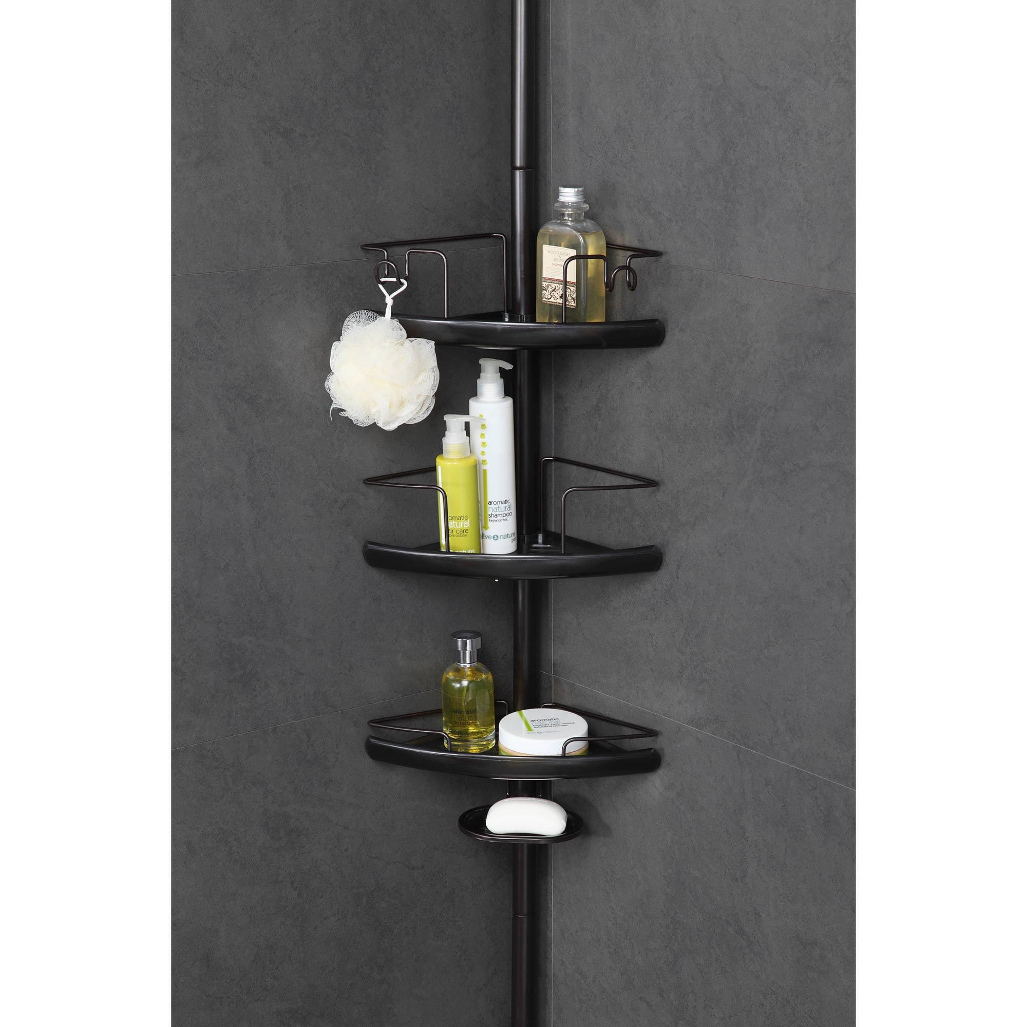 Homezone 3 Tier Adjule Pc Corner Shelf Extesion Pole Caddy Oil Rubbed Bronze