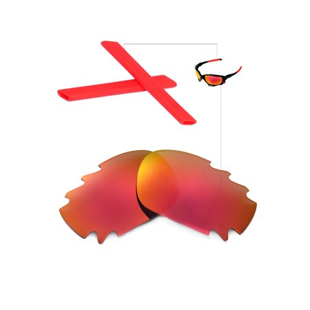 Martini Racing Sunglasses (Walleva Fire Red Vented Replacement Lenses And Red Earsocks for Oakley Racing Jacket)