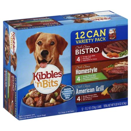 Kibbles 'n Bits Chef's Choice Bistro Beef, Chicken & Bacon Wet Dog Food Variety Pack, 13.2-Ounce Cans (12 Count) 13.2 Ounce Puppy Food