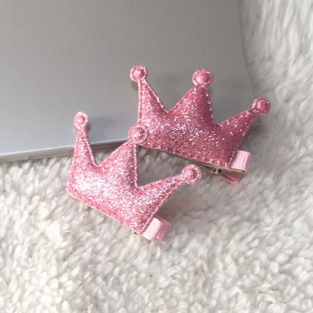 Outtop 2PCS Hair Clips Girls Party Sequins Princess Crown Leather Hair Style Buckle