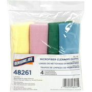 Genuine Joe Color-coded Microfiber Cleaning Cloths, Assorted, 4 / Pack (Quantity)