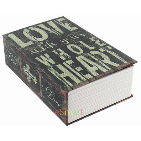 Secret Safe - Love With Whole Heart Hidden Book Safe Lock Secret Security Money Hollow Book Wall Safe