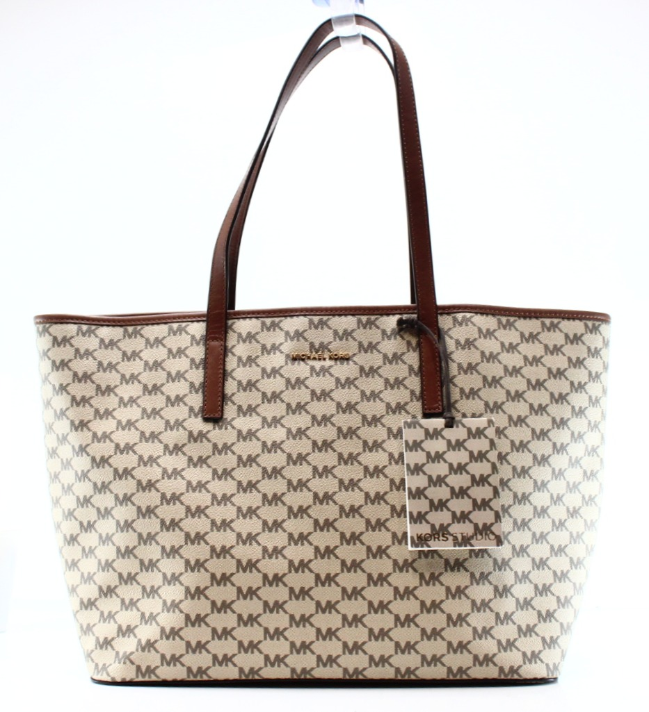 Michael Kors NEW Brown Coated Canvas Signature Emry Tote ...