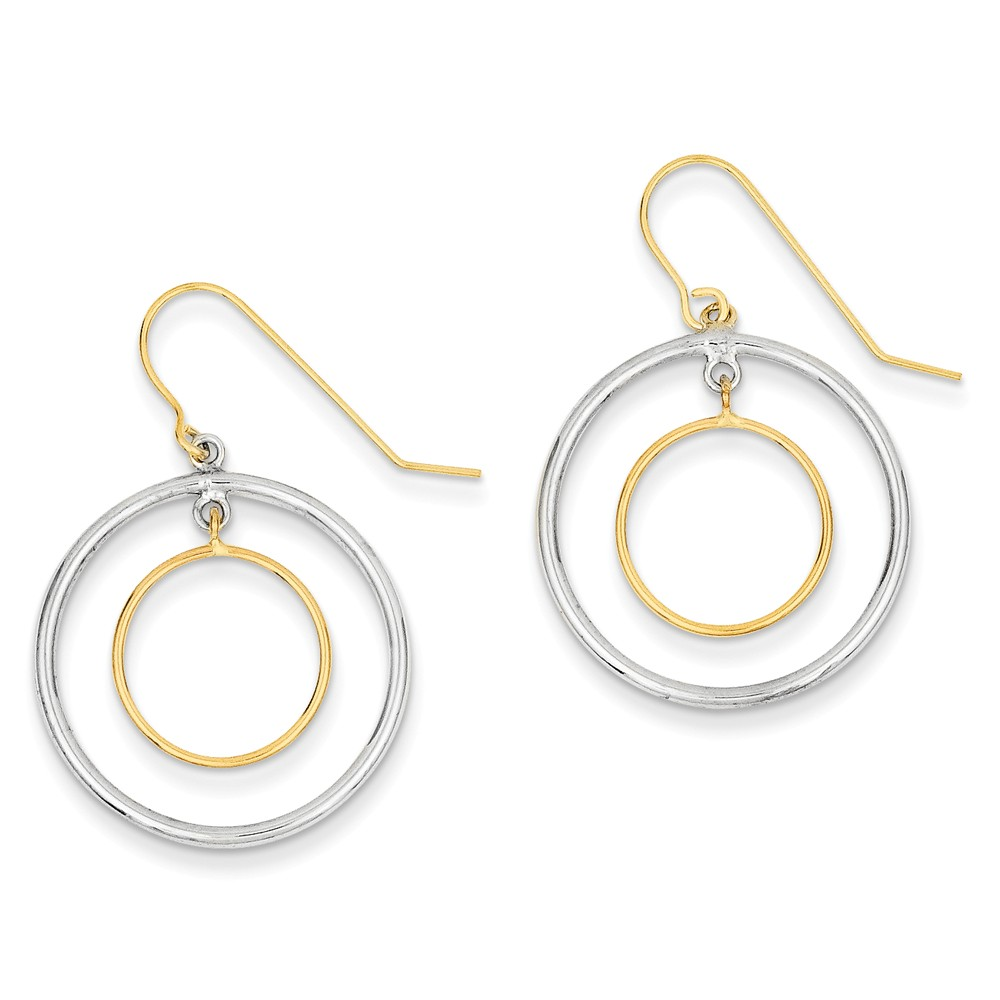 Sterling Silver w/ 14k Gold Polished Circles Dangle Earrings (0.9IN x 0.8IN )