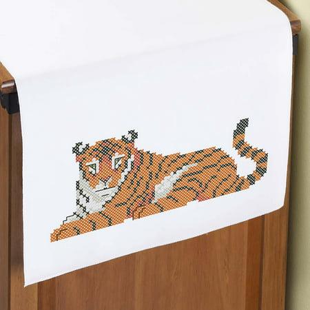 Tiger Cross Stitch Pattern - Herrschners® Tiger Dresser Scarf Stamped Cross-Stitch