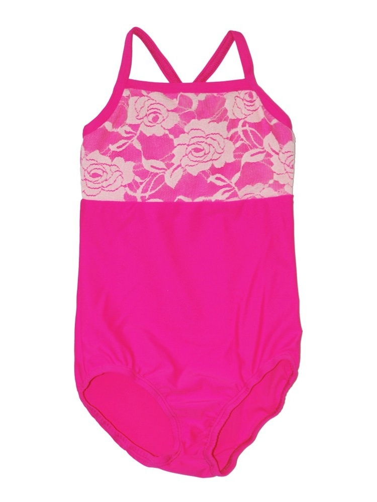 Little Girls Raspberry Rose Lace Detail Camisole Dancewear Leotard 2-4