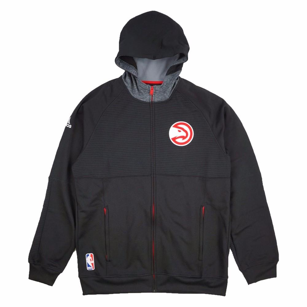 Atlanta Hawks NBA Adidas Black Team Issued Pre-Game Full Zip Hooded Pro Cut Jacket Jacket For Men by Adidas