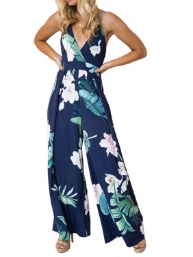 DYMADE Women's V-Neck Adjustable Spaghetti Strap Floral Printed Tie Knot Back Wide Leg Romper Jumpsuits