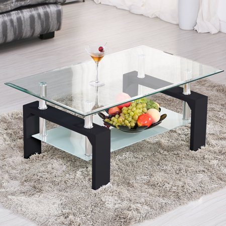 Uenjoy Rectangular Glass Coffee Table Shelf Chrome Black Wood Living Room Furniture,Black