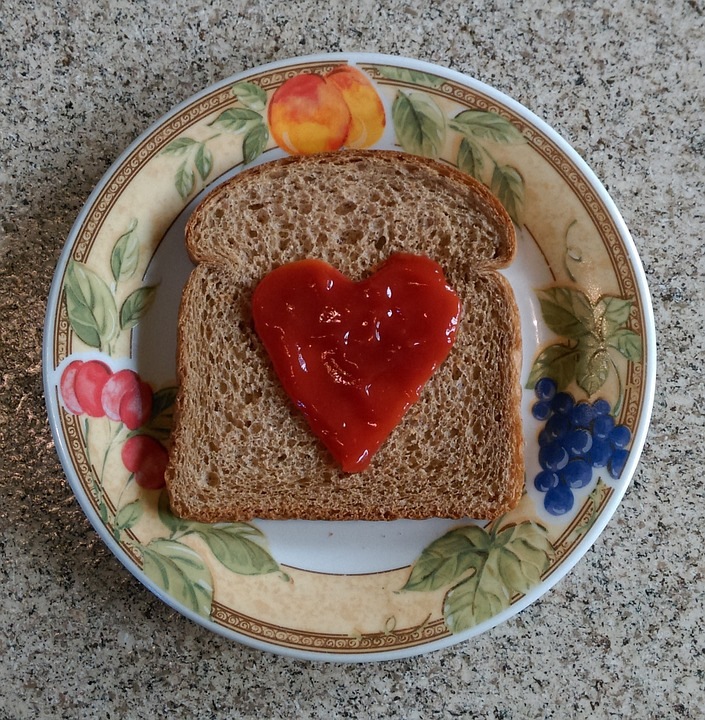 Laminated Poster Food Slice Shape Love Red Bread Heart Homemade Poster Print 11 x 17