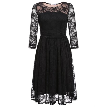Women O Neck Long Sleeve Floral Lace Party Cocktail Dress Swing Dress