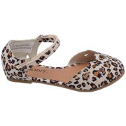 Girls Brown Leopard Print Perforated Ankle Strap Ballet Flat Sandals 4 Baby-8 Toddler