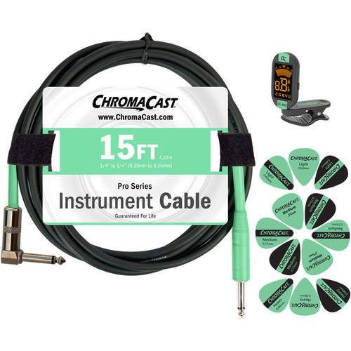 ChromaCast Guitar Accessory Pack Includes: 15' Straight-Angle Instrument Cable, Tuner and... by