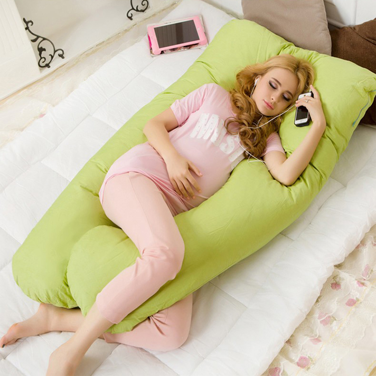 Wholesale explosion of a paragraph on behalf of the bilateral multi-functional pregnant women pillow pillow sleeping breast-feeding pregnant women U-pillow,Solid fruit green color
