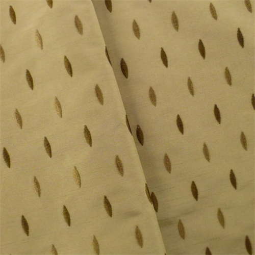 Sand Beige Marquise Embroidered Shantung Drapery Fabric, Fabric By the Yard