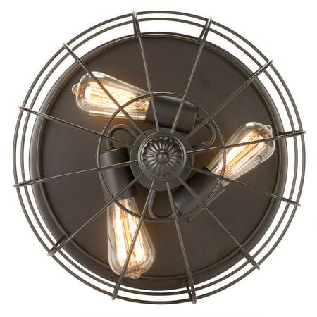 15Inch Industrial 3-Light Vintage Metal Cage Flush Mount Ceiling Light, Oil Rubbed Bronze