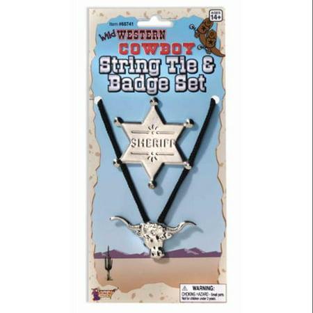Cowboy String Tie & Badge Set