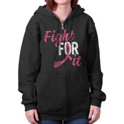 Breast Cancer Awareness Shirt | Fight for It Pink Ribbon BCA Zipper Hoodie