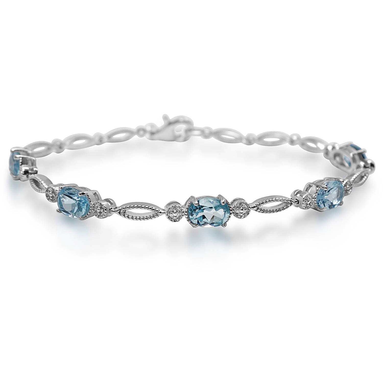 Sky Blue Topaz Sterling Silver Oval-Shape Fashion Bracelet by Generic